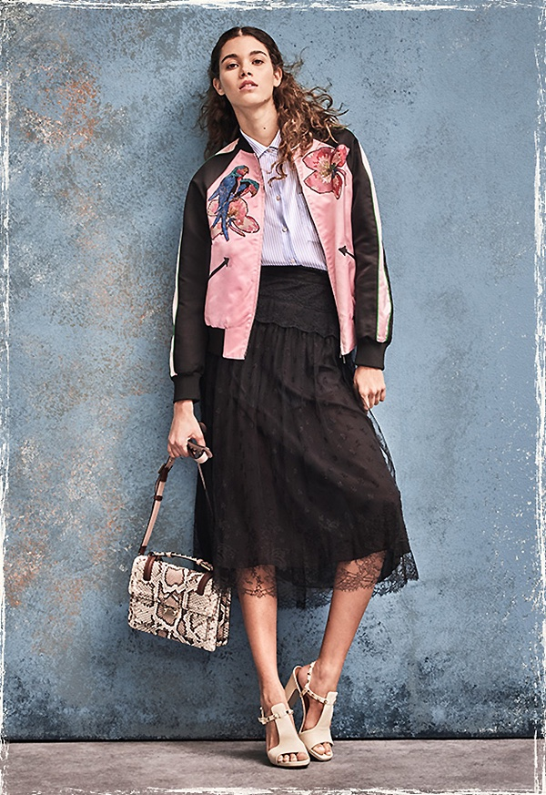 Valentino Embroidered Silk Varsity Jacket, Draped-Back Silk Blouse, Flowers Lace Skirt, Small Lock Python Top-Handle Shoulder Bag and Rockstud Cutout Leather Block-Heel Slingbacks