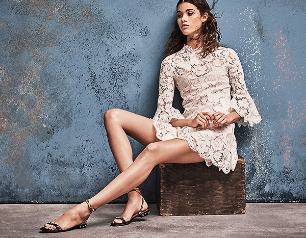 Valentino Butterfly Embroidered Lace Dress and Rocketed Rolling Embroidered Leather Ankle-Wrap Sandals