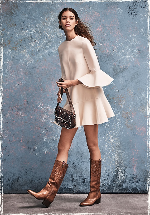 Valentino Ruffle Wool & Silk Dress, Santeria Tall Leather Boots and Rockstud Rolling Santeria-Embossed Leather Shoulder Bag