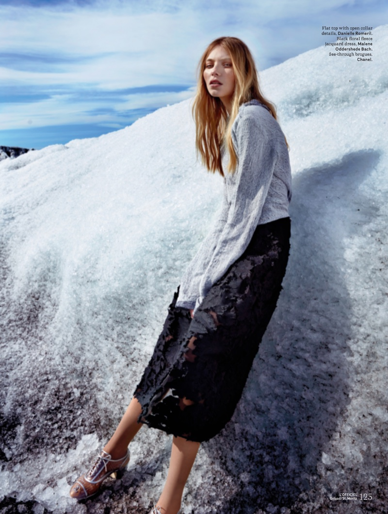 Vika Falileeva models Danielle Romeril top, Malene Oddershede Bach dress and Chanel brogues