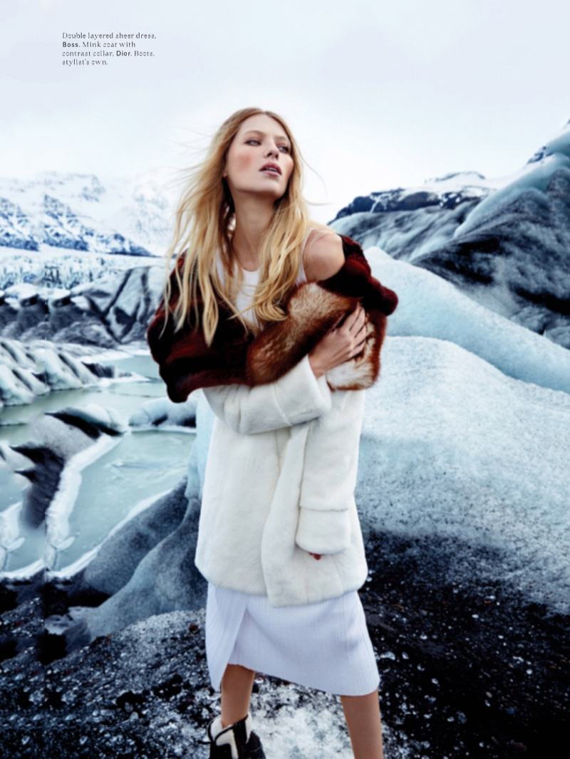 Vika Failileeva wears BOSS dress with Dior mink coat