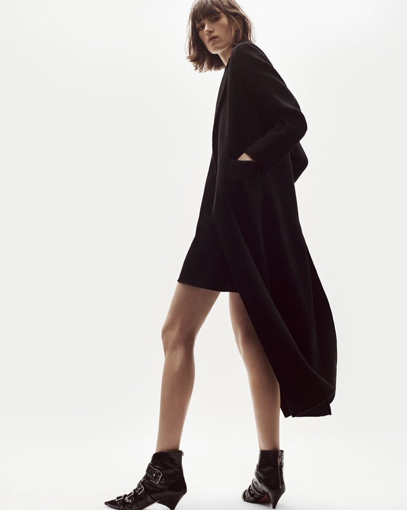 Zara long coat and short dress with top stitching