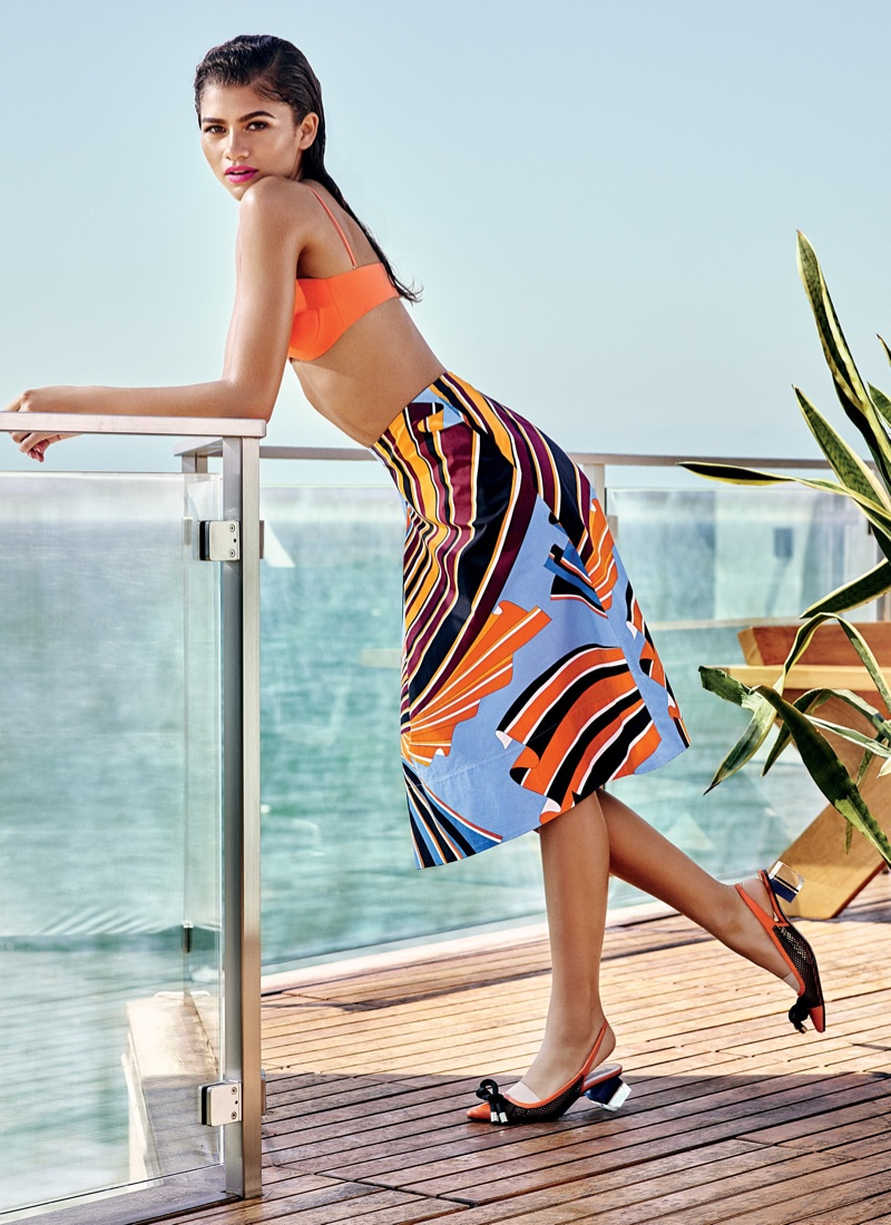 Zendaya poses in cotton top, skirt and mesh shoes by Emilio Pucci
