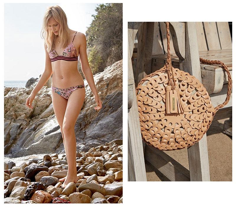 (Left) Zimmermann Tropicale Triangle Bra & Tropicale Skinny Bikini Bottoms; Bianca Monros Gomez Keepsake Locket Necklace (Right) Zimmermann Circular Link Bag
