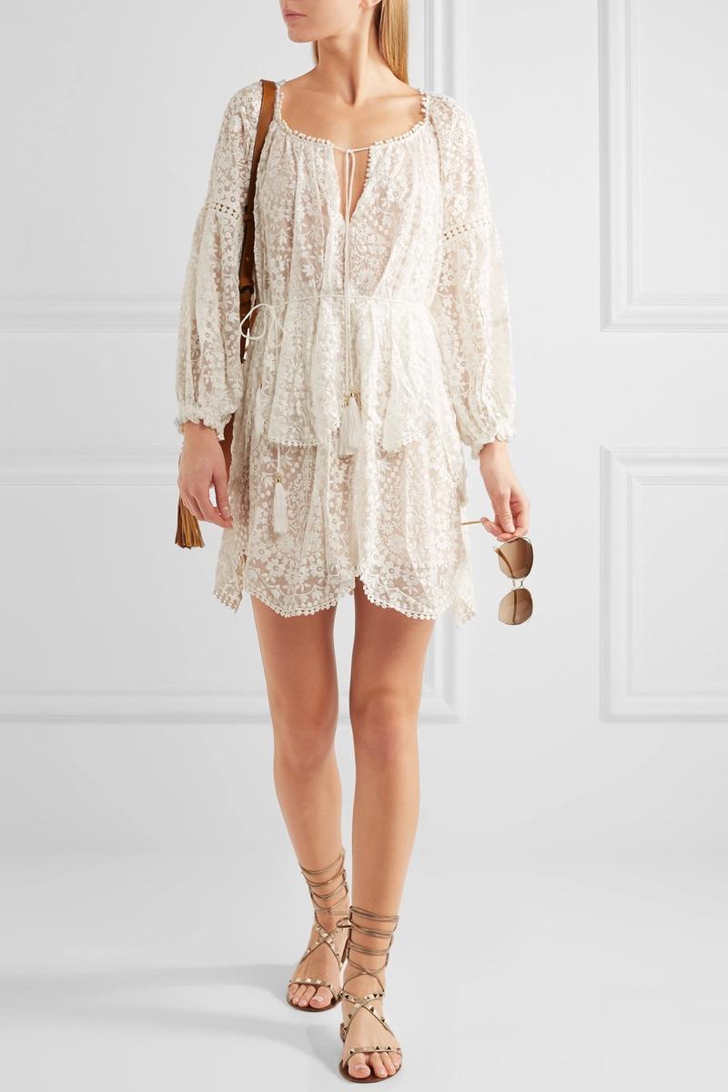 Zimmermann Embroidered Silk Georgette Dress