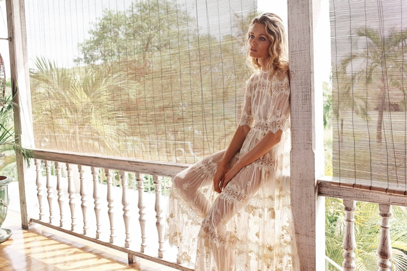 Edita Vilkeviciute poses in Zimmermann Tropicale Antique Dress