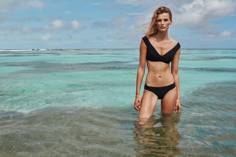 Edita Vilkeviciute models Zimmermann Gossamer Cold Shoulder Bikini