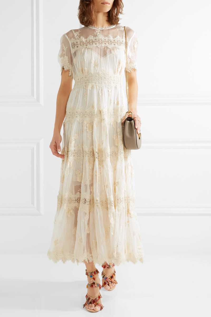 Zimmermann Tropicale Antique Lace Trimmed Crinkled Silk Chiffon Dress