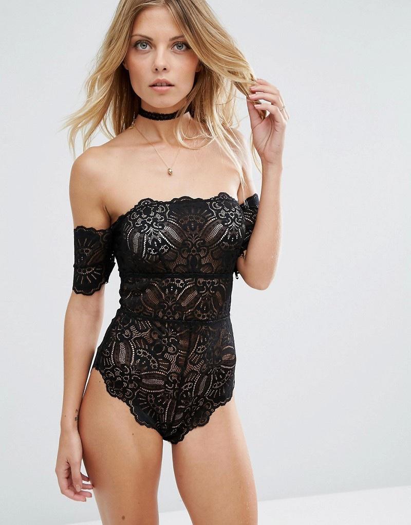 ASOS Mya Lace Bardot Bodysuit in Black