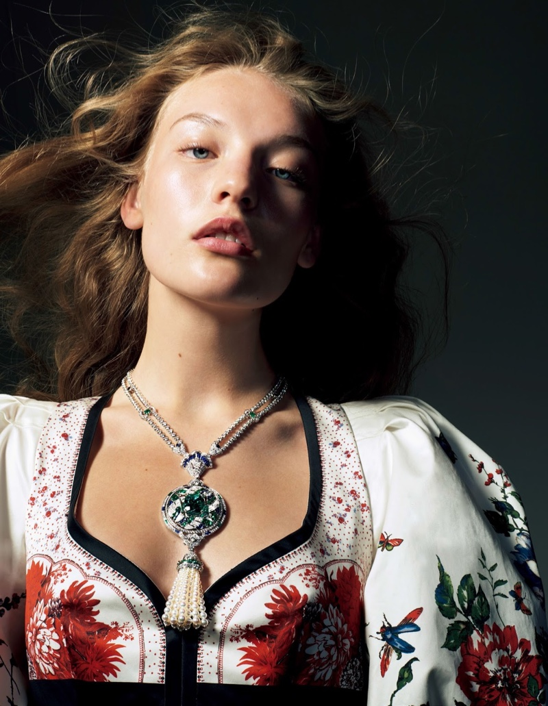 Agnes Akerlund Shines in Precious Gems for Vogue Japan