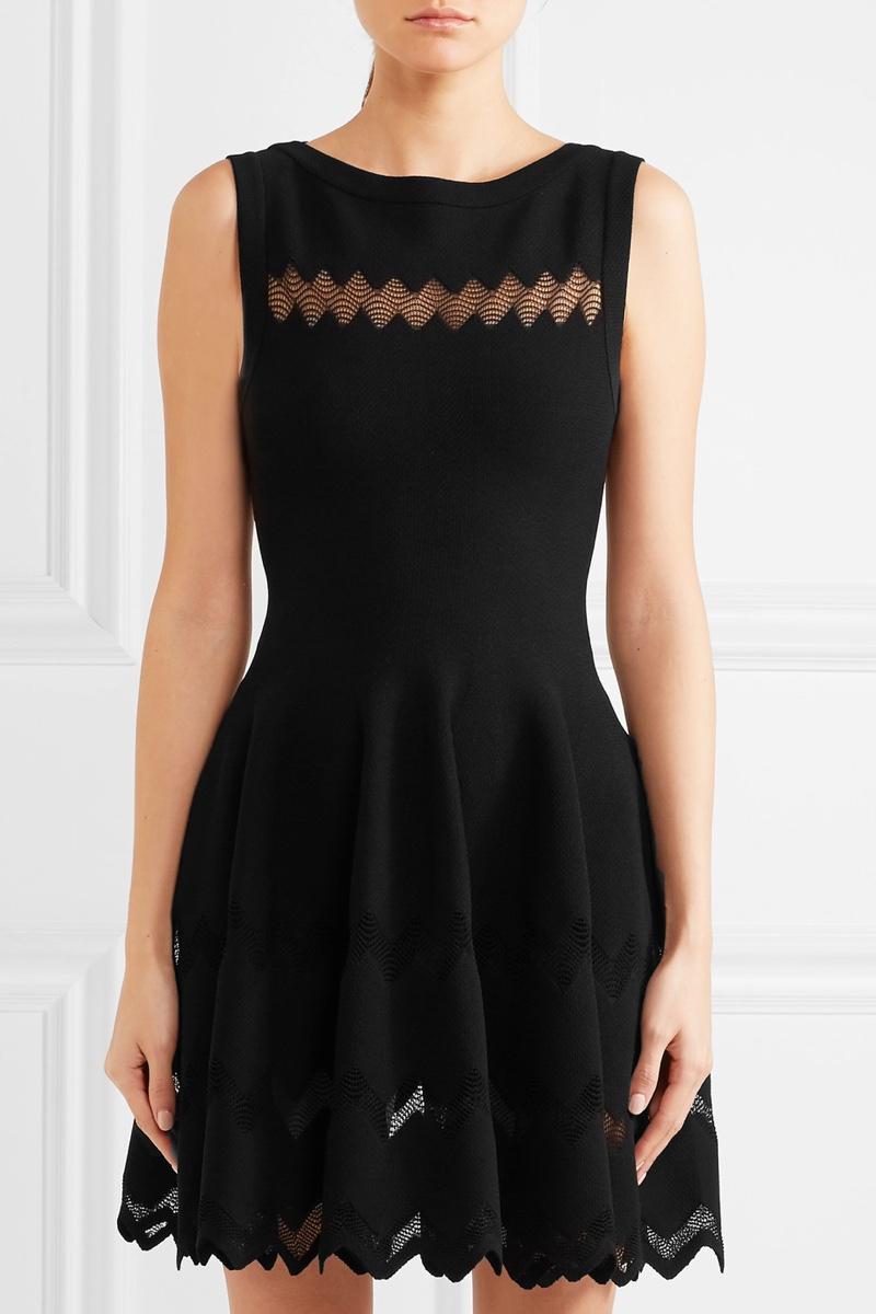 Alaïa Knitted Mini Dress in Black