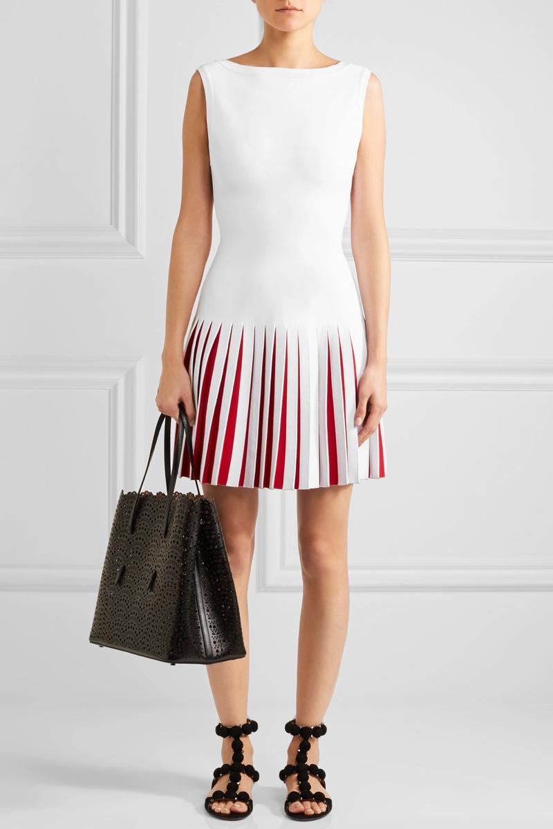 Alaïa Pleated Two Tone Knitted Mini Dress