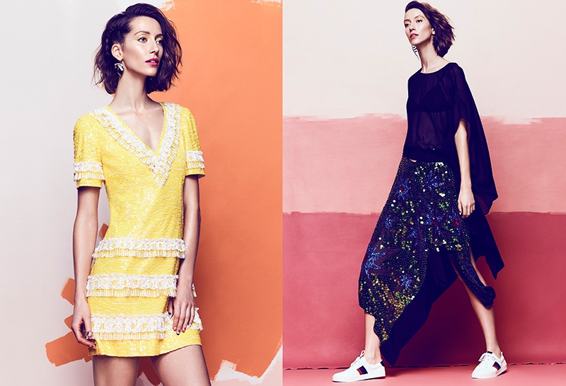 (Left) Alana Zimmer wears Chanel sequin dress (Right) The model poses in Preen by Thornton Bregazzi top and skirt