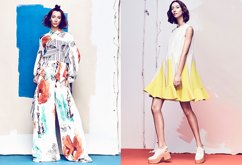 (Left) Alana Zimmer poses in Christian SIriano blouse, top and pants (Right) Model wears Delpozo dress and Michael Kors shoes