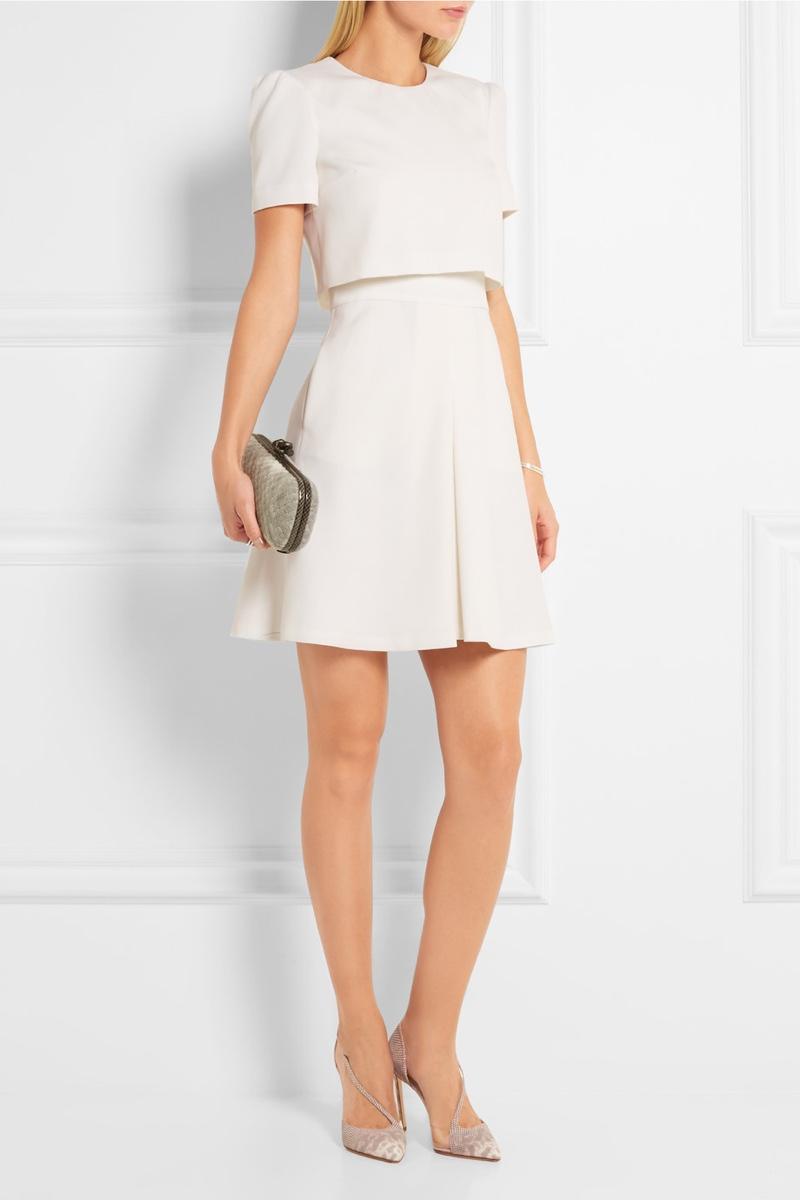 Alexander McQueen Layered Wool Crepe Mini Dress