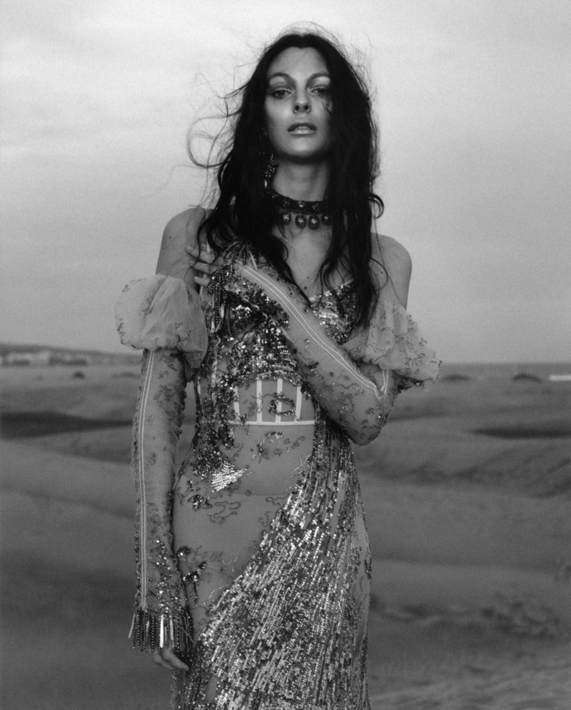 Vittoria Ceretti models embellished gown in Alexander McQueen's spring 2017 campaign