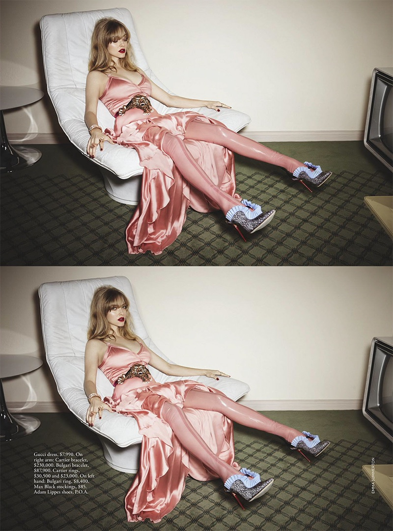 Looking pretty in pink, Amanda Seyfried models Gucci dress and Adam Lippes heels