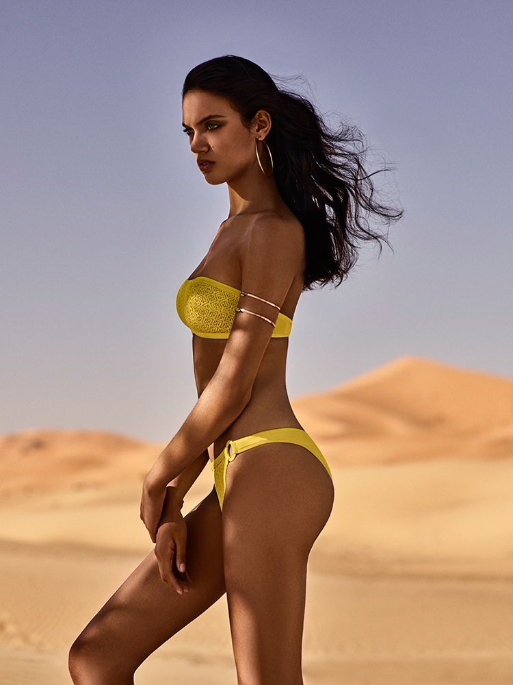 Dalianah Arekion wears Magda bikini top and briefs from Andres Sarda Swimwear