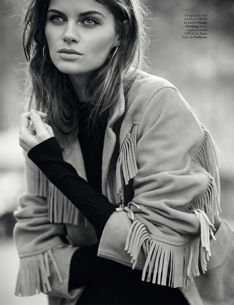 Anja Voskresenska models Levi's Vintage clothing fringed jacket with Zara sweater