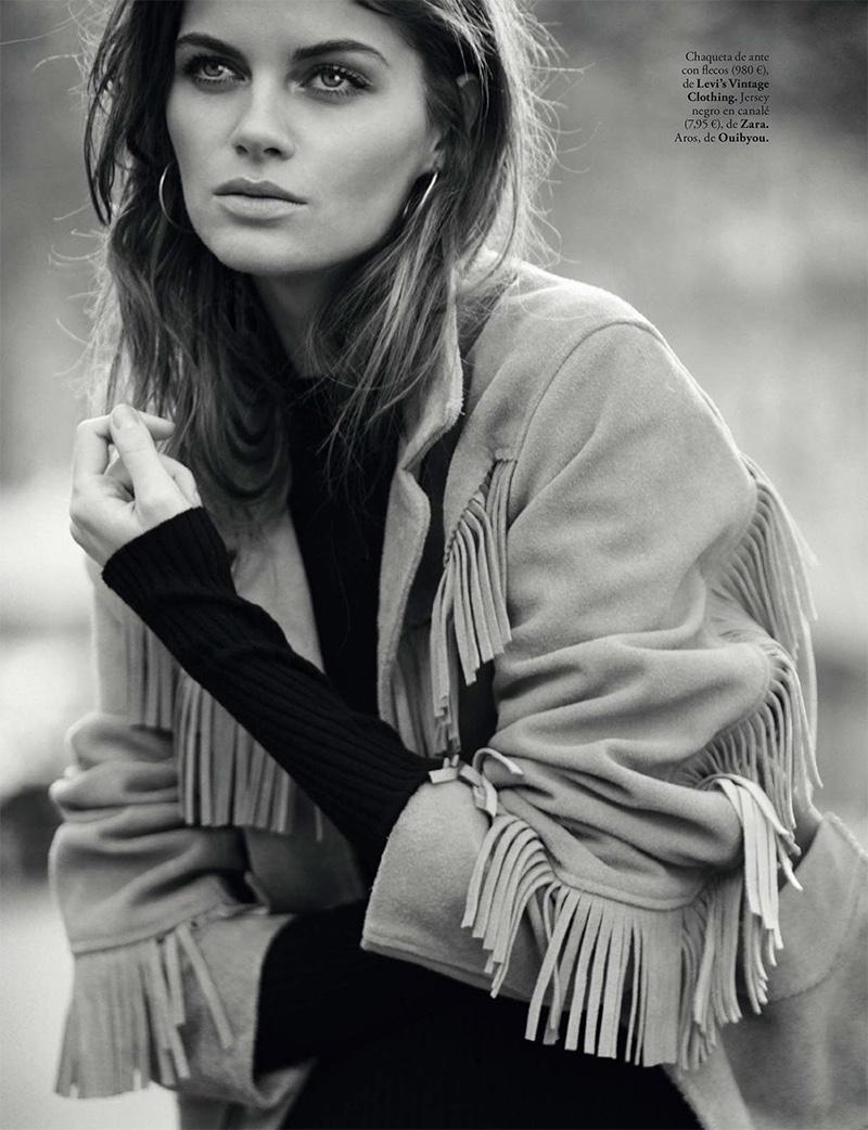 Anja Voskresenska models Levi's Vintage clothing fringed jacket with Zara sweater