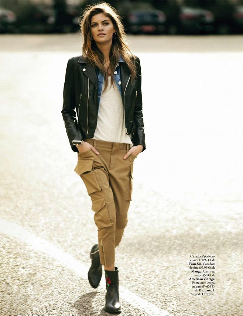 Anja Voskresenska wears Twin-Set jacket, Mango denim jacket and DSquared2 cargo trousers