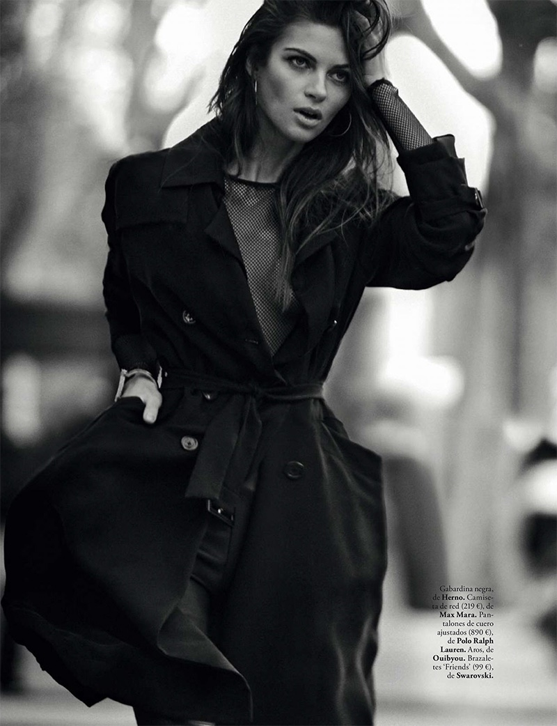Anja Voskresenska wears Herno black trench coat and Max Mara top