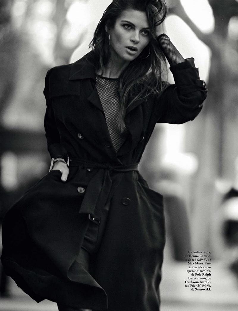 Anja Voskresenska wears Herno black trench coat and Max Mara top