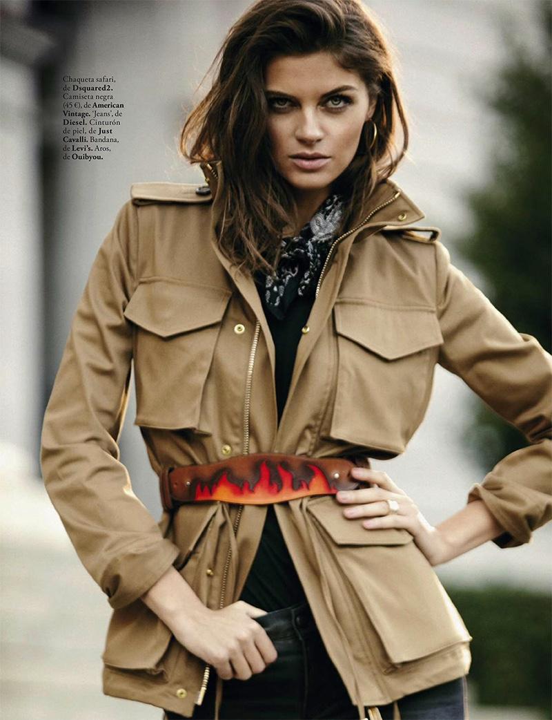 Model Anja Voskresenska poses in DSquared2 safari jacket with Just Cavalli belt