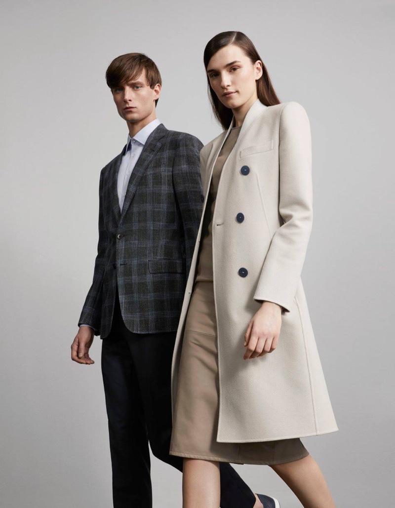 Armani Cashmere Melton Double-Breasted Coat and Armani Leather Fitted Sheath Dress