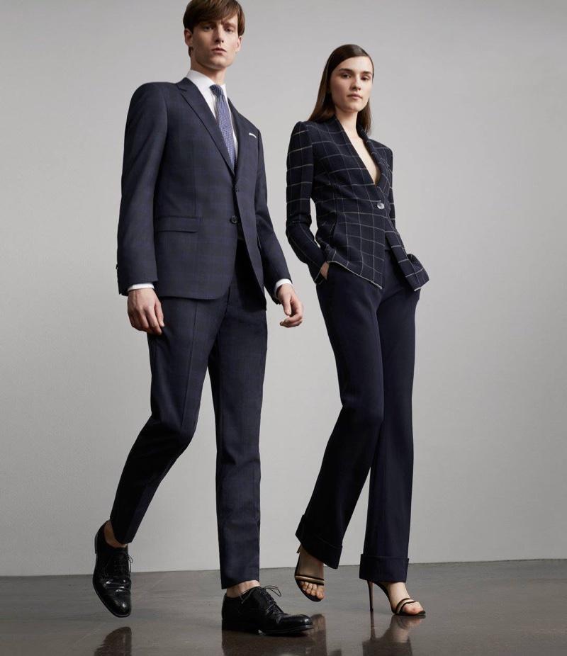 Armani Ottoman-Knit One-Button Jacket, Armani Stretch Crepe Trousers and Gianvito Rossi Portofino Ankle-Strap Sandals