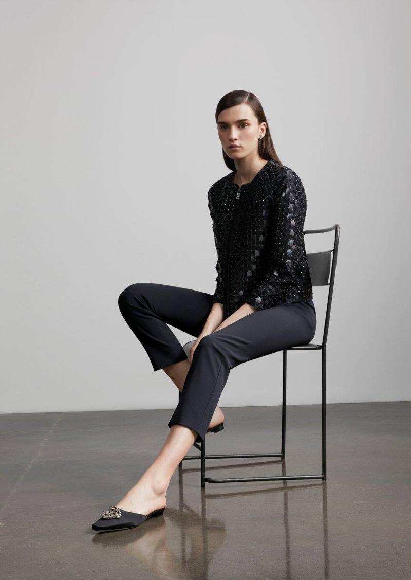 Armani Studded Leather Cutout Jacket, Armani Stretch Wool Crepe Ankle Pants, Carole Shashona Comet Long-Drop Earrings and Manolo Blahnik Okkatomu Mules