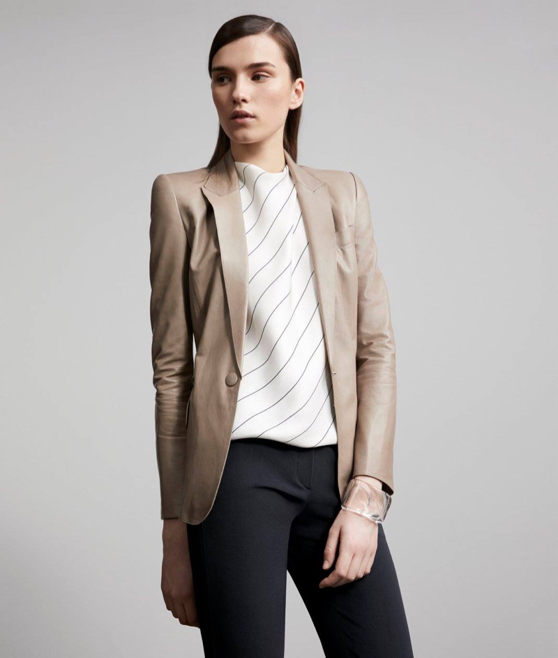 Armani Lambskin One-Button Jacket, Striped Silk Scarf Top, Stretch Wool Crepe Ankle Pants and Stazia Loren Wide-Band Cuff