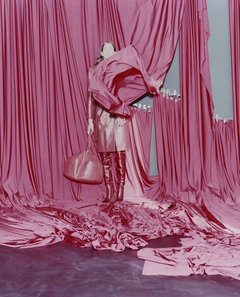 Balenciaga sets spring 2017 campaign against a backdrop of colorful curtains