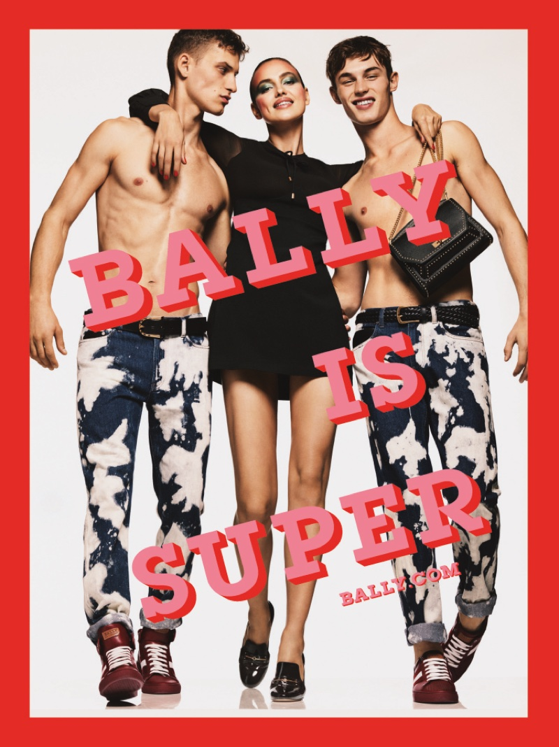 Kit Butler, David Trulik and Irina Shayk appear in Bally's spring 2017 advertising campaign