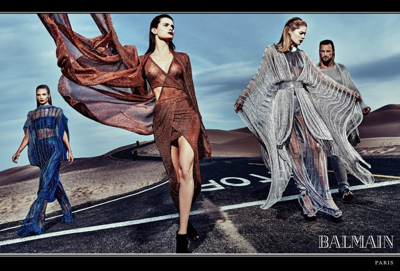 Balmain features flowing shapes in spring 2017 advertising campaign
