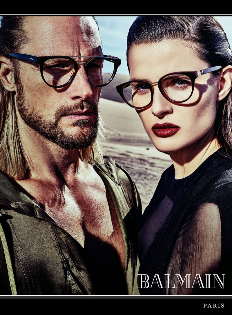 Isabeli Fontana and Gabriel Aubrey front Balmain's spring 2017 eyewear campaign