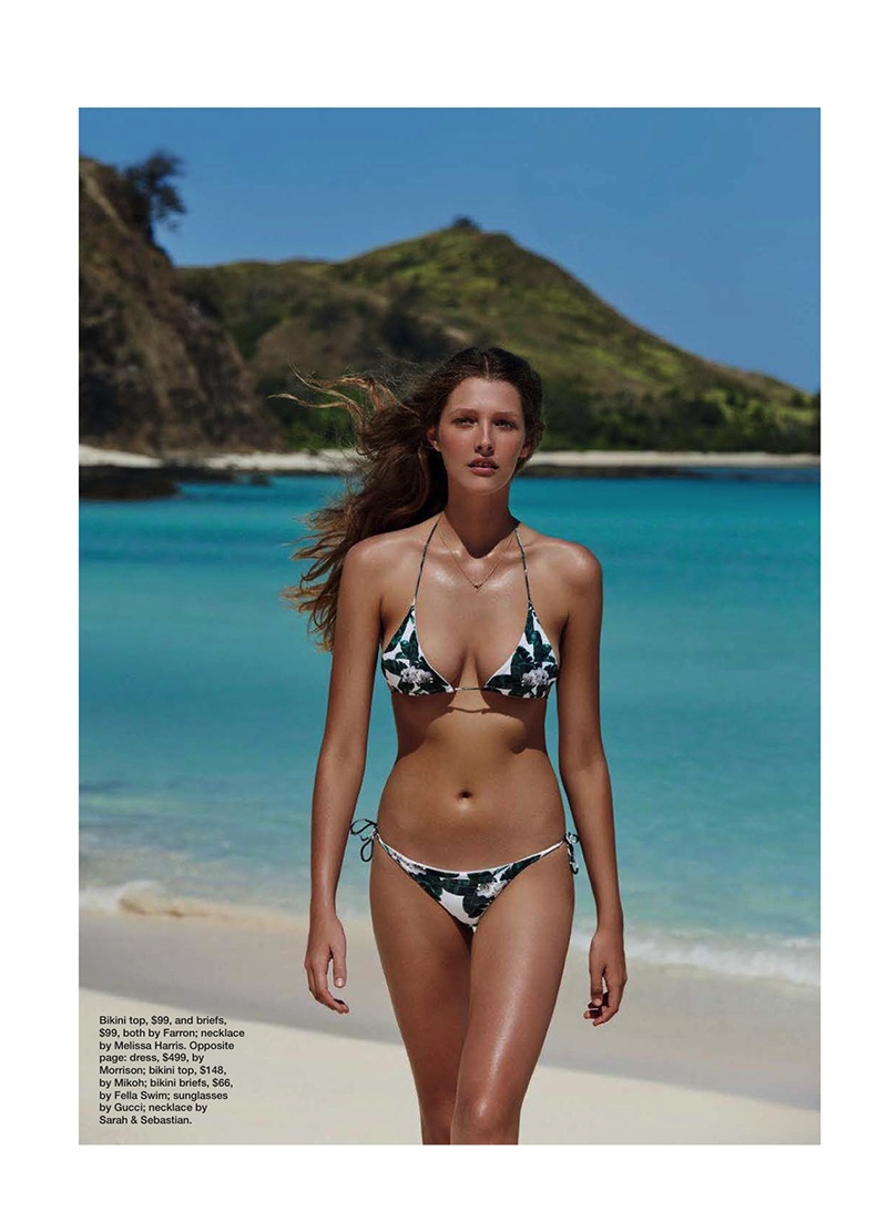 Hitting the beach, Bella Brown poses in Farron bikini top and briefs with Melissa Harris necklace