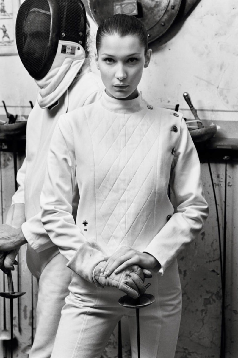 Looking fencing chic, Bella Hadid wears quilted jacket and pants from Dior