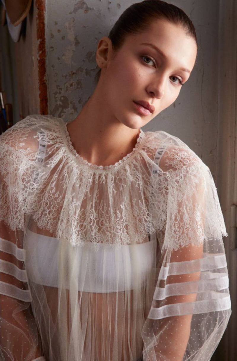 Bella Hadid wears lace and tulle top with bra from Dior