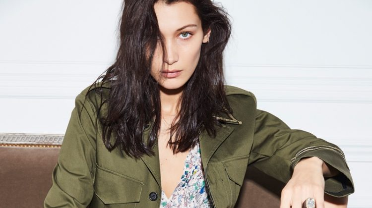 Model Bella Hadid sports military jacket and floral print dress in Zadig & Voltaire's spring 2017 campaign