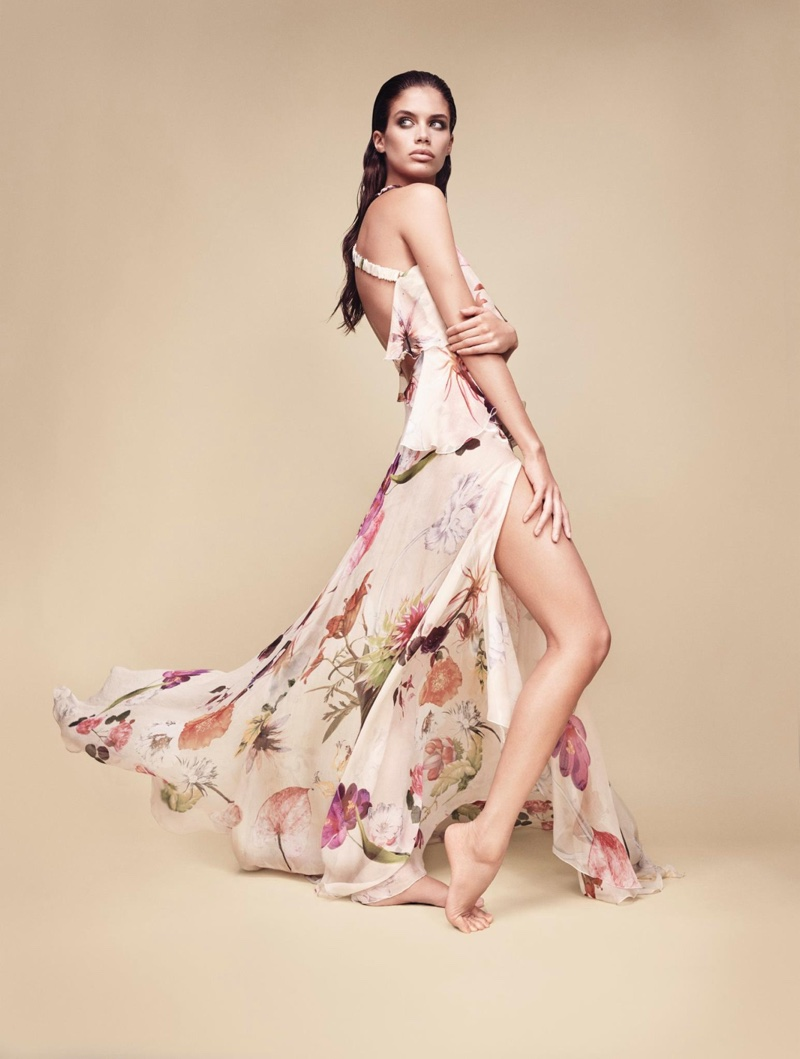 Blumarine features floral print maxi dress in spring-summer 2017 campaign