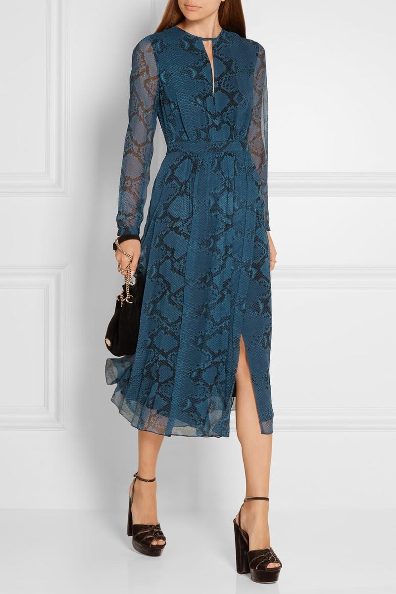 Burberry Snake Print Silk Chiffon Midi Dress