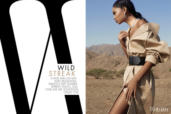 Chanel Iman wears A.W.A.K.E. coat, Ralph Lauren belt and Cartier jewels