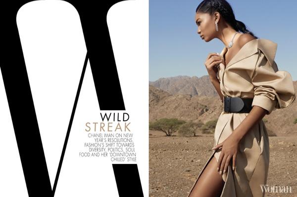 Chanel Iman wears A.W.A.K.E. coat, Ralph Lauren belt and Cartier jewels