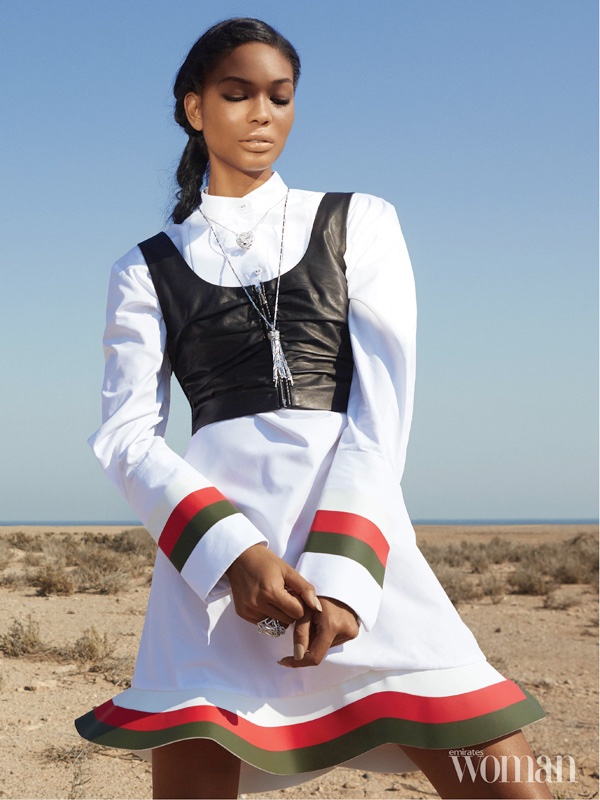 Chanel Iman poses in J.W. Anderson flared dress