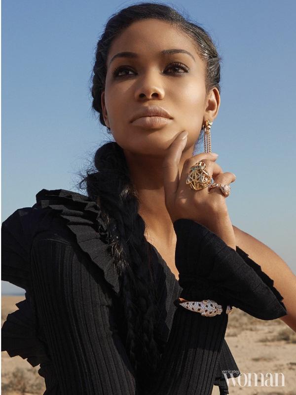 Model Chanel Iman wears ruffle embellished top