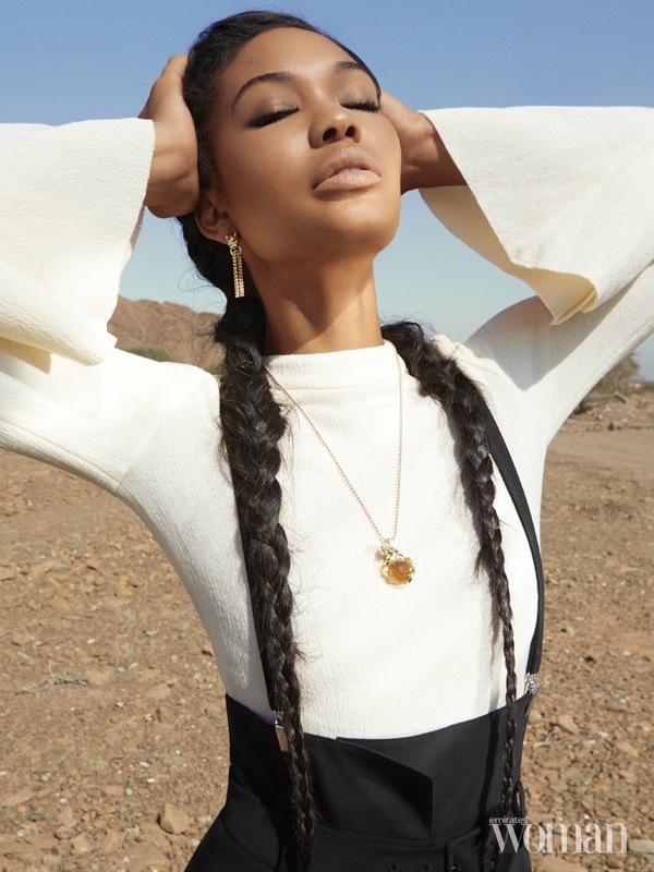 Chanel Iman wears top with bell sleeves