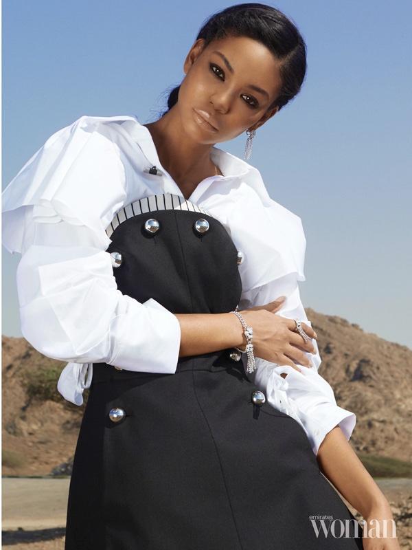 Chanel Iman poses in Monse dress