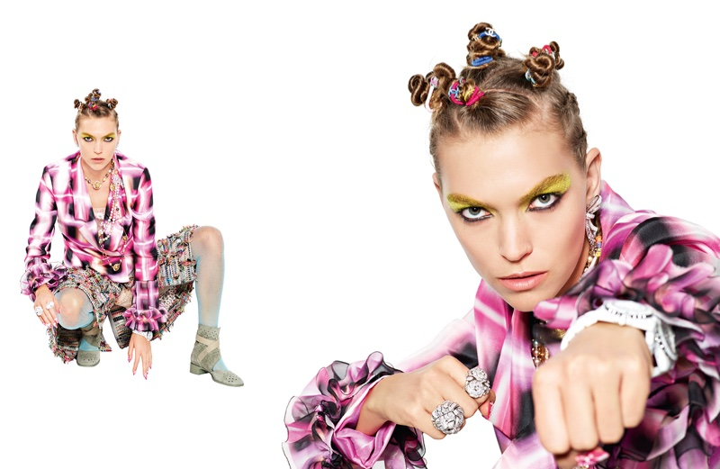 Arizona Muse sports bantu knots in Chanel's spring-summer 2017 campaign
