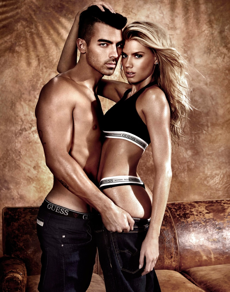 Charlotte McKinney and Joe Jonas star in Guess Underwear campaign